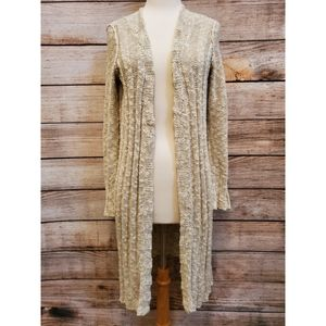 Free People Cream White Textured Duster Cardigan